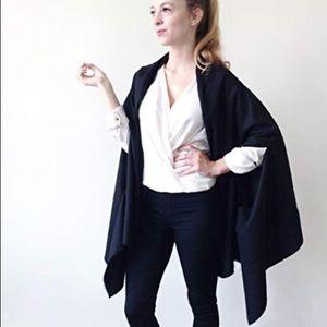 Vintage black cape with scarf wool blend
